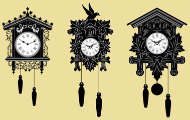 Photo sur Aluminium Art Studio Cuckoo Clocks set
