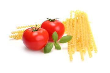 Macaroni, tomatoes and basil - spaghetti ingredient