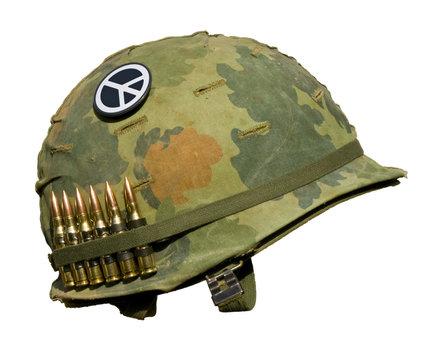 US Vietnam War Helmet - Peace Button