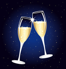 Beautiful champagne toast on a starry night.