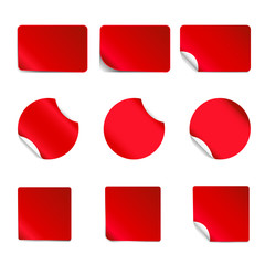 Set of red, realistic vector stickers with peeling corners.