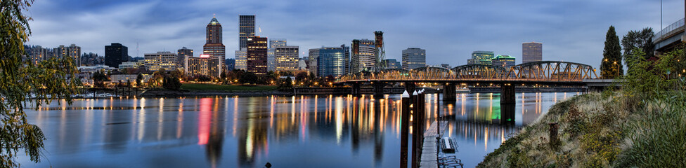 Fototapete - Panorama of Portland, Oregon, USA.