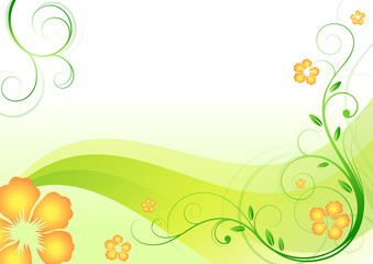 green fresh background with flowers