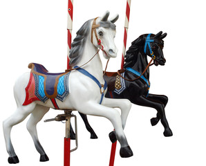 Two Merry-Go-Round Horses with path