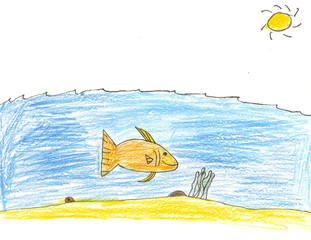Large Fish Under the Sea Drawing