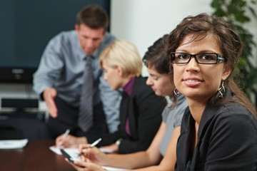 People on business training
