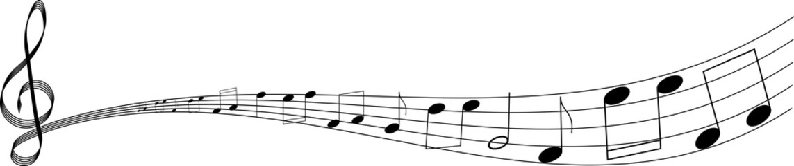 isolated clef with notes on white background