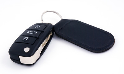 car key with leather fob and remote central locking