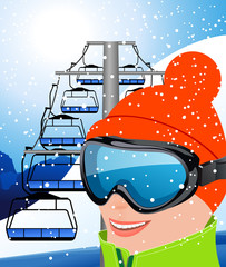 Skier and elevator