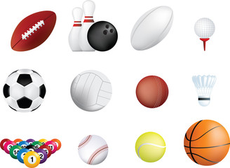 sports ball icon set