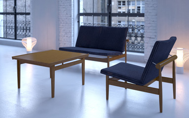 Industrial loft interior with modern Danish furniture