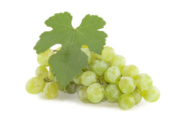Close-up of a bunch of grapes isolated over white
