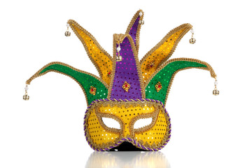 Gold, purple and green mardi gras mask
