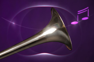 Trombone Bell Isolated On Purple