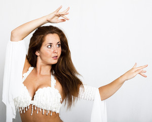 Bellydancer with white costume