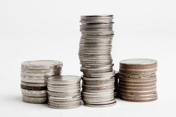 Stacks of coins isolated