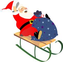 sledding santa
