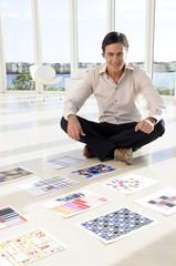 Creative sitting on the floor
