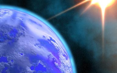 Earth and Rising Sun