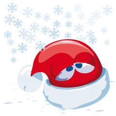 vector illustration Santa caps in winter