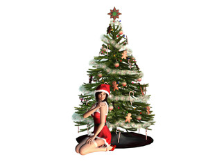 Young Santa Girl close to a Christmas Tree - Isolated over white