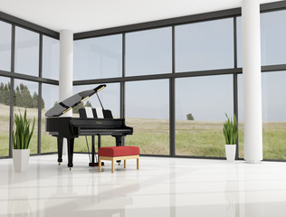 grand piano in a luxury interior