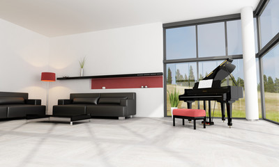 luxury interior with grand piano