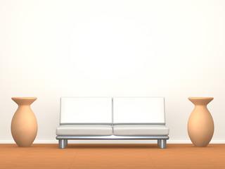 Sofa und Vasen vor Wand
