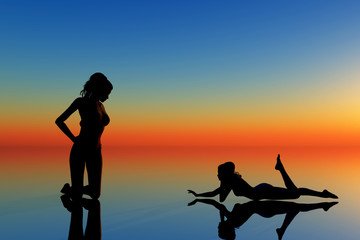 silhouette of  two women on blue and orange background