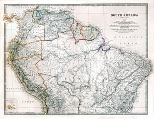 Vintage South America map, printed in 1875.