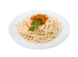 Spaghetti with tomato sauce and parsley.