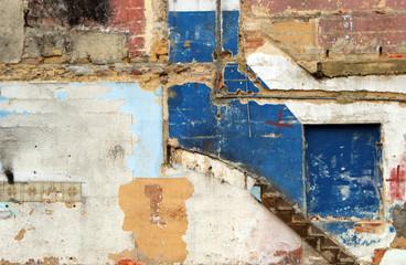 Deurstickers parede em ruinas