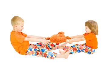 Children divide a toy