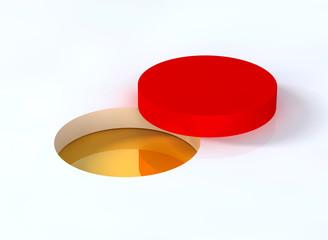 Goldader offen mit rotem Deckel