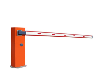 closed orange entrance barrier, nobody, isolated
