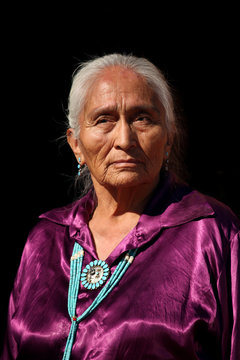 Navajo Elder Wearing Handmade Traditional Turquoise Jewelry