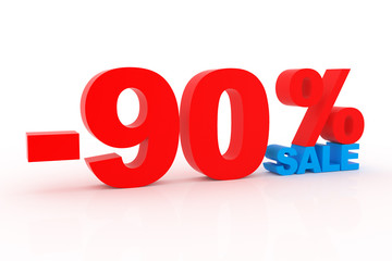 3D signs showing 90% discount and clearance.