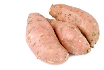 Yams or Sweet Potatoes Isolated on White