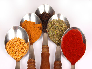 Collection of spices on spoons