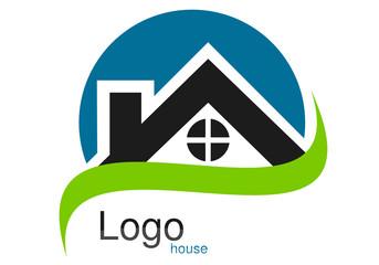 Logo maison toit rond courbe bleu vert gris