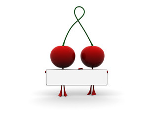 cherry with text board