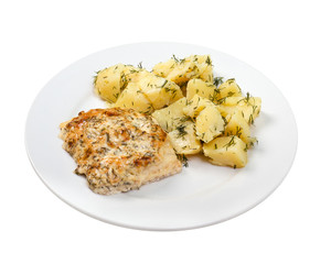 baked meat with potatoes