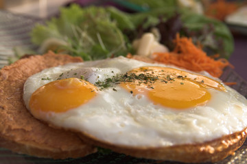 Toast with an egg sunny side up