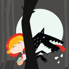 Red Riding Hood and black Wolf. Vector Illustration.
