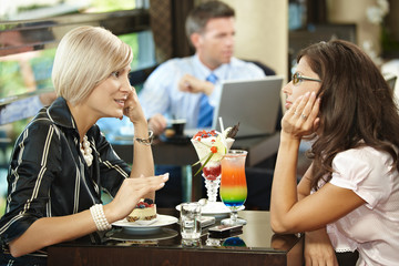 Young women in cafe