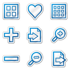 Image viewer web icons, blue contour sticker series
