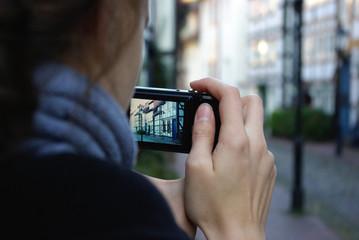 Tourist in der Altstadt