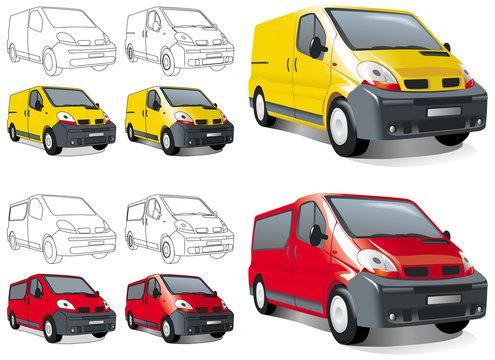 Мini buss, van, cargo and passengers. Vector illustration