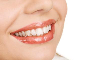 White teeth and joyful smile
