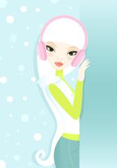Winter fashion girl in headphones